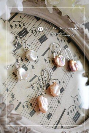 画像1: 【AAクラス】花びら型セカンドパール フックピアス&イヤリング ホワイト&ピンク&パープル