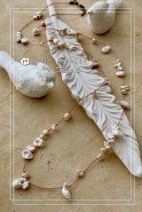 *ailes de pb* セカンドパールデザインネックレス メタリックホワイト