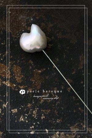 画像1: 淡水バロックパール ピンブローチ ロングタイプA