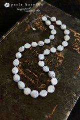 コイン型有核真珠 ネックレス ホワイト