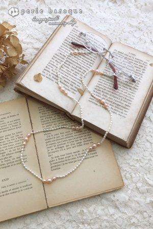 画像1: 2way淡水真珠グラスコード&ロングネックレス ホワイト×ピンク