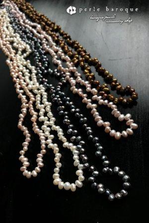 画像1: つぶつぶパール ロングネックレス ホワイト/ピンク/パープル/ブラウン/ブラック