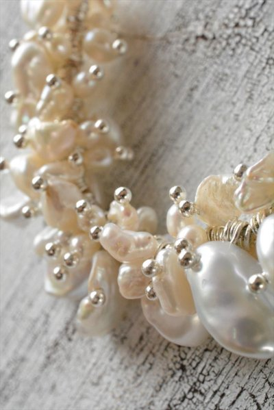 画像2: *ailes de pb* バロックーパールデザインネックレス〜baroque luciole A〜 シルバーホワイト