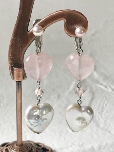 画像1: 【Cute&Lovely】ハート型 淡水真珠ピアス&イヤリング